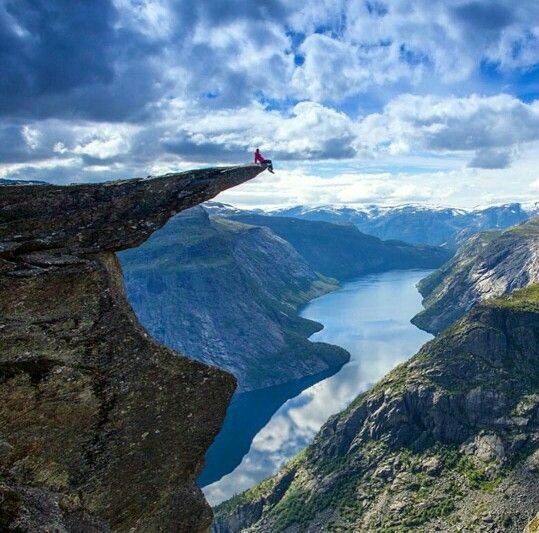 Trolltunga. I don't know how far out I would go on that, but it's only five miles from the family farm.