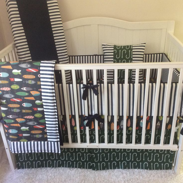 A personal favorite from my Etsy shop https://www.etsy.com/listing/512863197/baby-boy-crib-bedding-set-fishing-lures