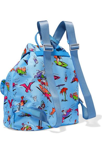 Prada - Printed Textured Leather-trimmed Canvas Backpack - Blue - one size