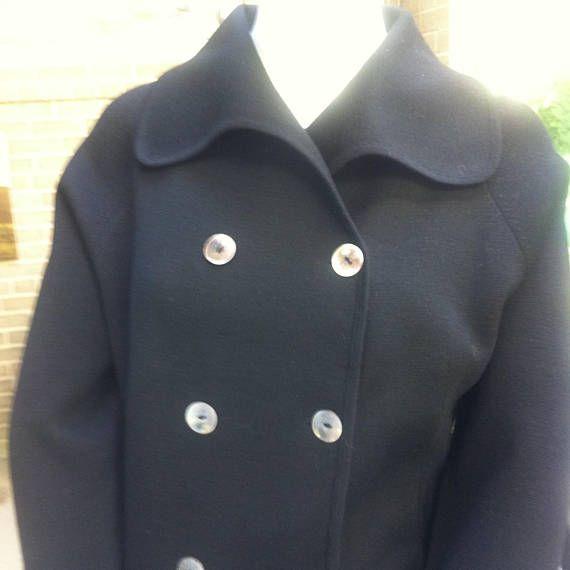 Contessa Visconti Modello Couture Vintage 1950s Womens Double Breasted Black Wool Cardigan Made in Italy Size 14 Designer Simonetta