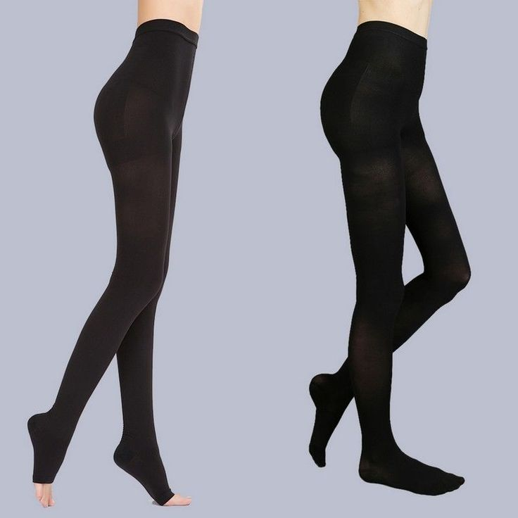 Black Medical Compression Stockings Pantyhose Varicose Closed/Open Toe Tights