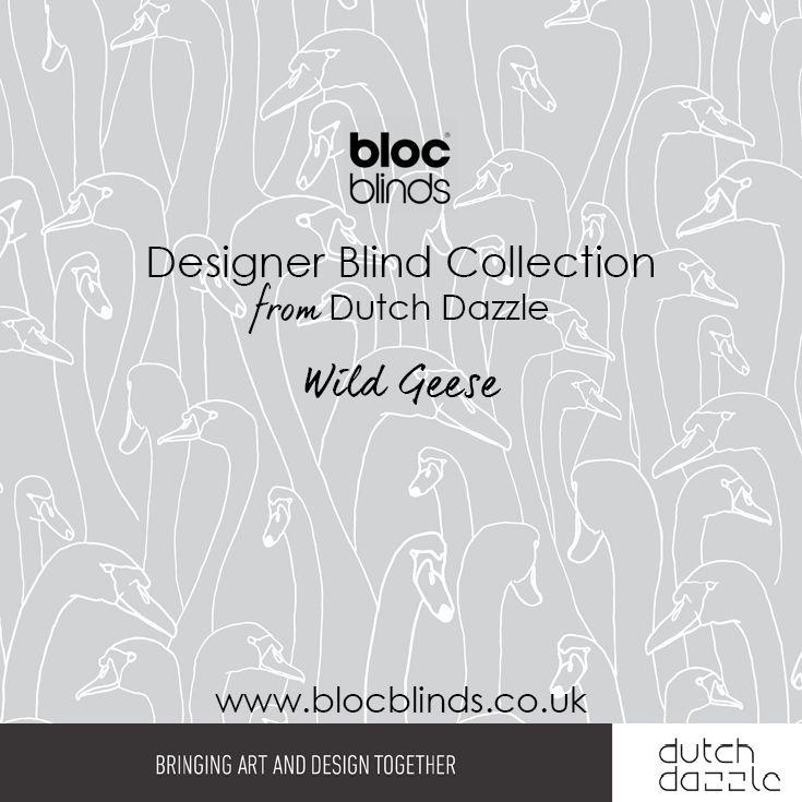 'Wild Geese' Light Grey. Designer Blind Fabric. Order Made to Measure Designer Blinds Online. Made in the UK. Award Winning Innovation. Be Inspired. www.blocblinds.co.uk