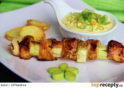 Pórkovo - kuřecí špíz s curry dipem