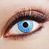 aricona Farblinsen – deckend blau - farbige Kontaktlinsen für Halloween & Cosplay – bunte, farbig intensive blaue Jahreslinsen