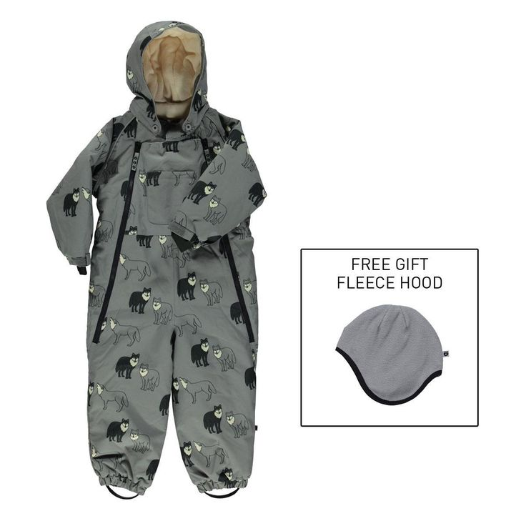 Little Kid Snow Suit with Grey Wolves - by Smafolk. Available at Modern Rascals.