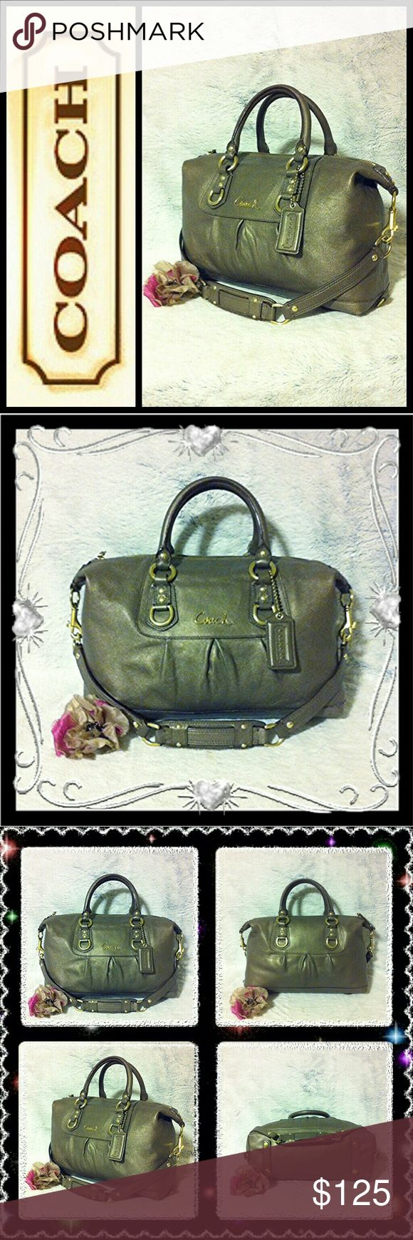 """🍃Coach Ashley Sabrina Pewter Satchel🍃 Coach Ashley Sabrina Gold/Pewter Satchel F15445 100% Authentic. Medium in size measuring approximately 13""""wide, 8""""long, 6""""depth, 5""""short strap drop, 10""""long strap drop. Creed patch reads No: B1271-F15445. Overall condition is very well kept with little signs of wear, such as: bottom corner wear, tiny scratches, small lightened color spots on leather, very minimal throughout. Straps show darkening & discoloration from normal use. The color is a smokey…"""