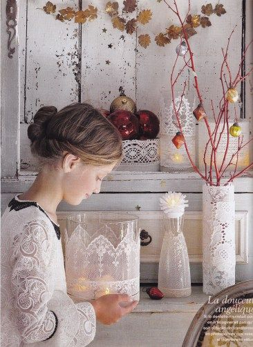 Glass and lace candle votives, Marie Claire Idees