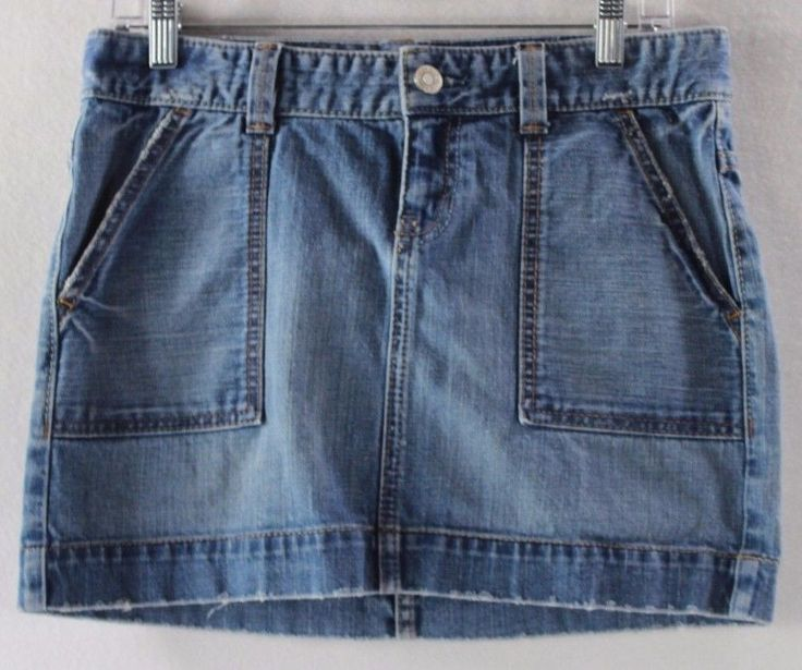 GAP Jeans Blue Denim Micro Mini Women's Distressed Jean Skirt - 6 Cotton Blend…