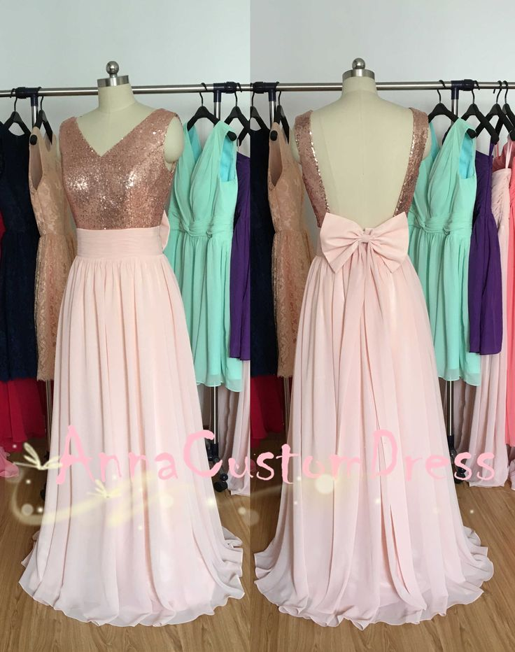 V Neck Rose Gold Sequin Pearl Pink Chiffon Long Bridesmaid
