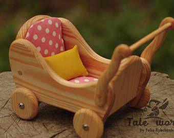 Waldorf Holz Kinderwagen, Miniatur Puppe Kinderwagen, Waldorf Puppe Kinderwagen, Matratze, Kissen, Puppenwagen, Waldorf Holz Buggy, Puppenmöbel