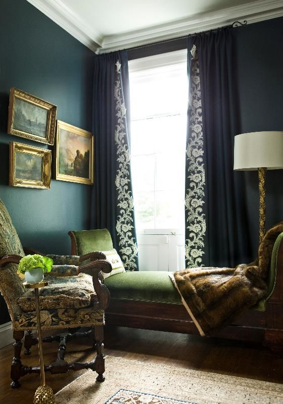 Navy Walls Detailing On Curtain Westbrook Interiors