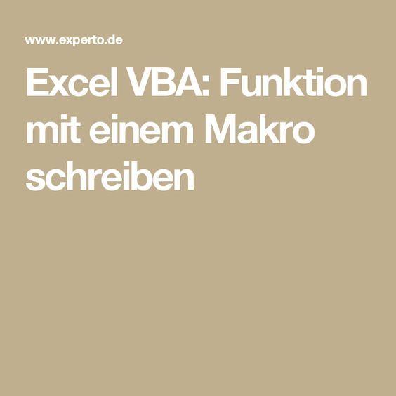 Excel VBA: Funktion mit einem Makro schreiben