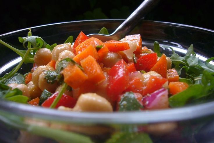 Garbanzo Bean and Baby Arugula Salad with Cumin Vinaigrette recipe on ...