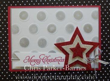 Christmas card using #LargePolkaDot Embossing Folder, and #StarFramelits Chris Parker-Barnes www.dotdotstamping.com