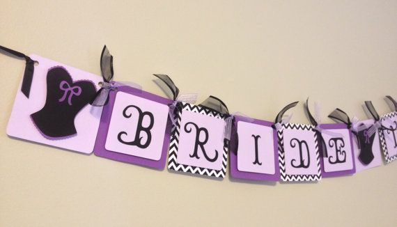 Purple Chevron Bridal Shower Banner Bride to Be by wittypaper, $18.00