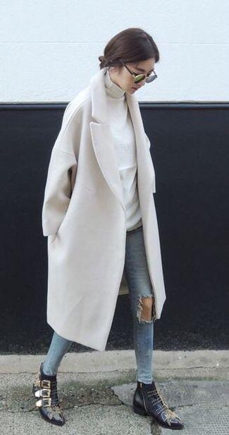 Cream Wool jeans stylish