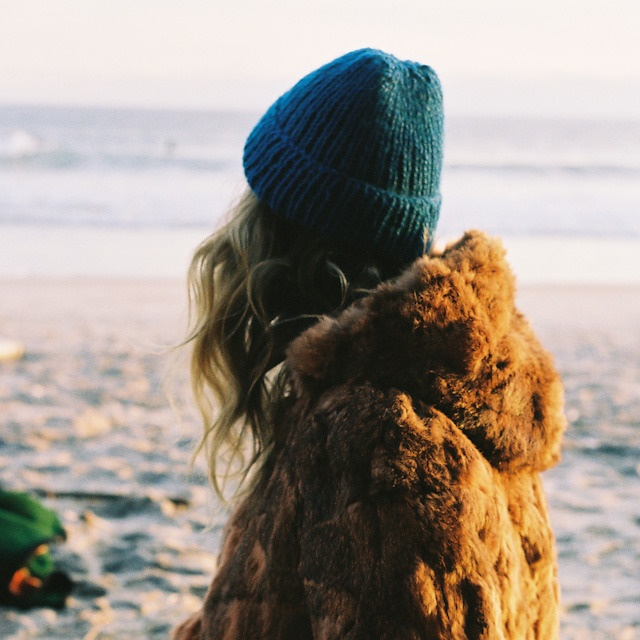 classic fisherman + fur + beach