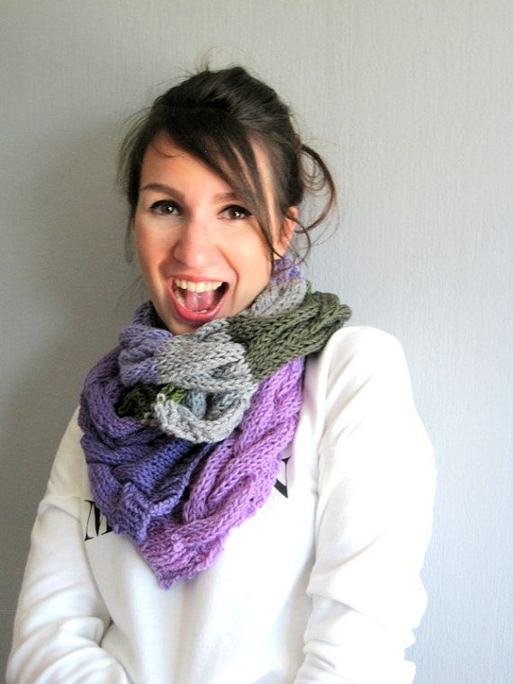 Scarf knitted purple green cableknit handknit by woolpleasure