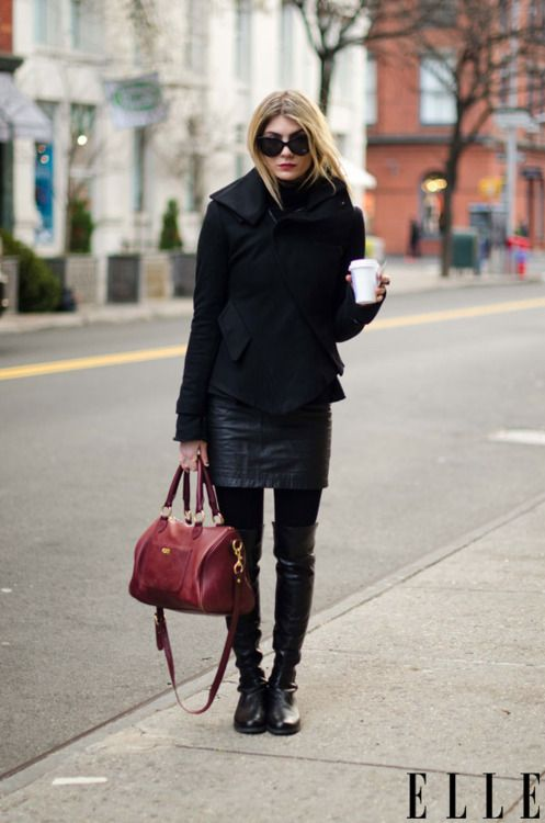 Winter layers.: Black Style, All Black, Leather Skirts, Leather Boots, Street Style, Red Pur, Red Bags, Jeans Skirts, Street Chic