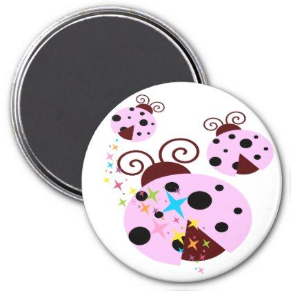 Three pink and black ladybug with stars magnet - pink gifts style ideas cyo unique