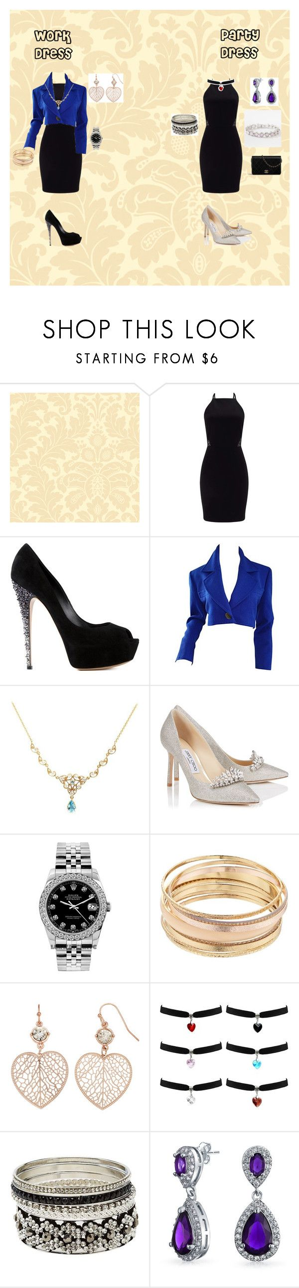 """work/ party dress"" by epgty on Polyvore featuring York Wallcoverings, Miss Selfridge, Casadei, Yves Saint Laurent, Jimmy Choo, Rolex, Mudd, LC Lauren Conrad, Charlotte Russe and Bling Jewelry"