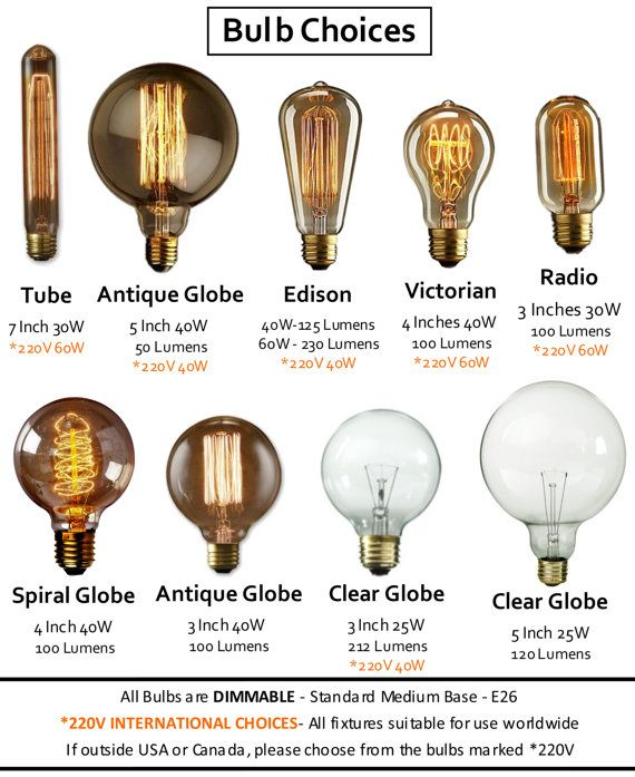 ANY 5 Bulbs for the price of 4!  Perfect for giving your fixtures and other lighting projects a historic element with its vintage elegance. DIMMABLE E26 Medium Base Worldwide options: 110V OR 220V Lumens (brightness) listed on bulbs choices image  Just leave a note with your order to specify bulb choice  Edison - 40 Watt or 60 Watt Victorian - 40 Watt 3 Antique Globe - 40 Watt 4 Globe Spiral - 25 Watt Radio - 30 Watt 7 Long Tube - 30 Watt 5 Clear Globe - 25W 3 Clear Globe - 25W * XL 5…
