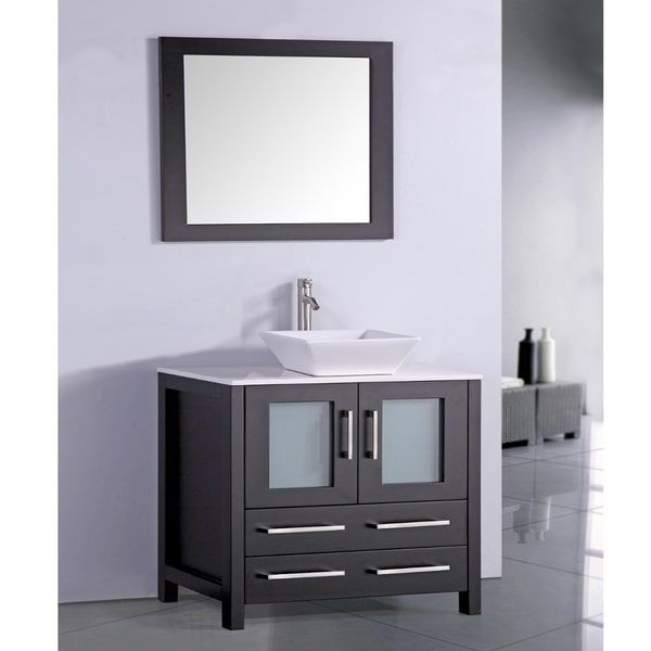 White Artificial Stone Top 36-inch Vessel Sink Espresso Bathroom Vanity and Matching Fram- powder rm
