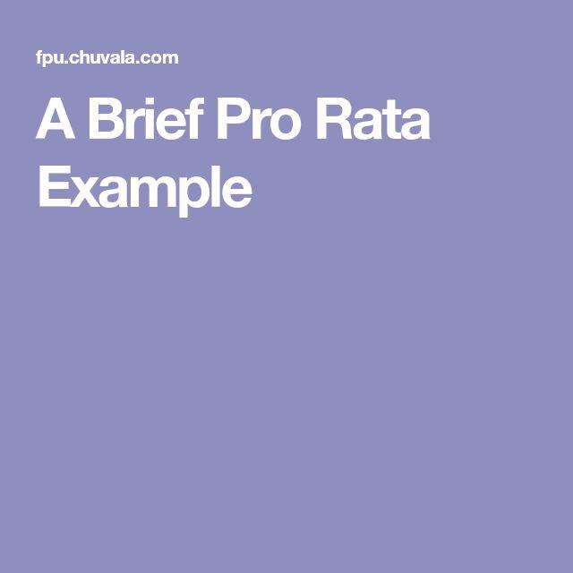 A Brief Pro Rata Example