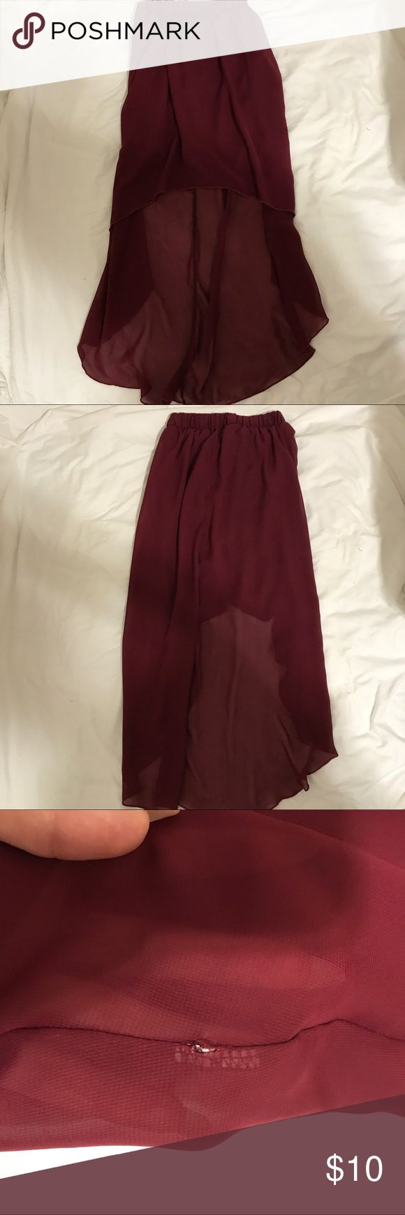 ❗️FINAL SALE ❗️Burgundy maxi skirt Short from the from, long from the back. Small rip by tag, not noticeable at all. Skirts Maxi