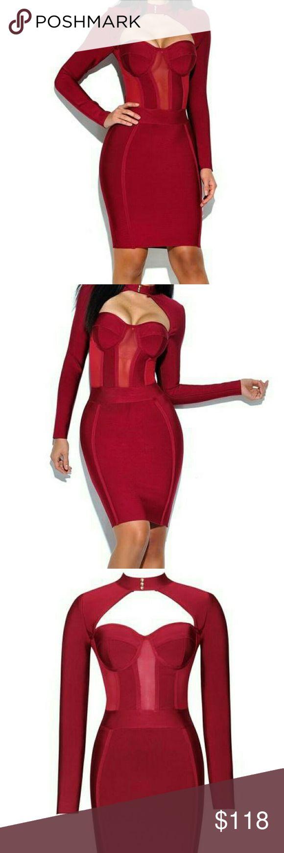 Bustier Bandage Dress High neck bustier long sleeve bandage dress Dresses Long Sleeve
