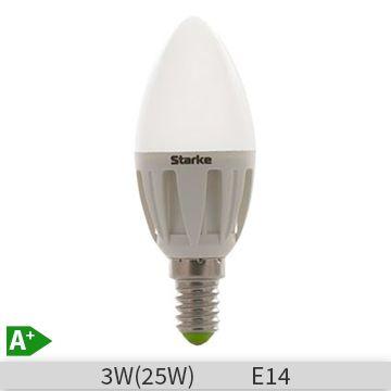 Bec LED STARKE forma lumanare 3W, E14, B35, 30000 ore, lumina rece http://www.etbm.ro/becuri-led