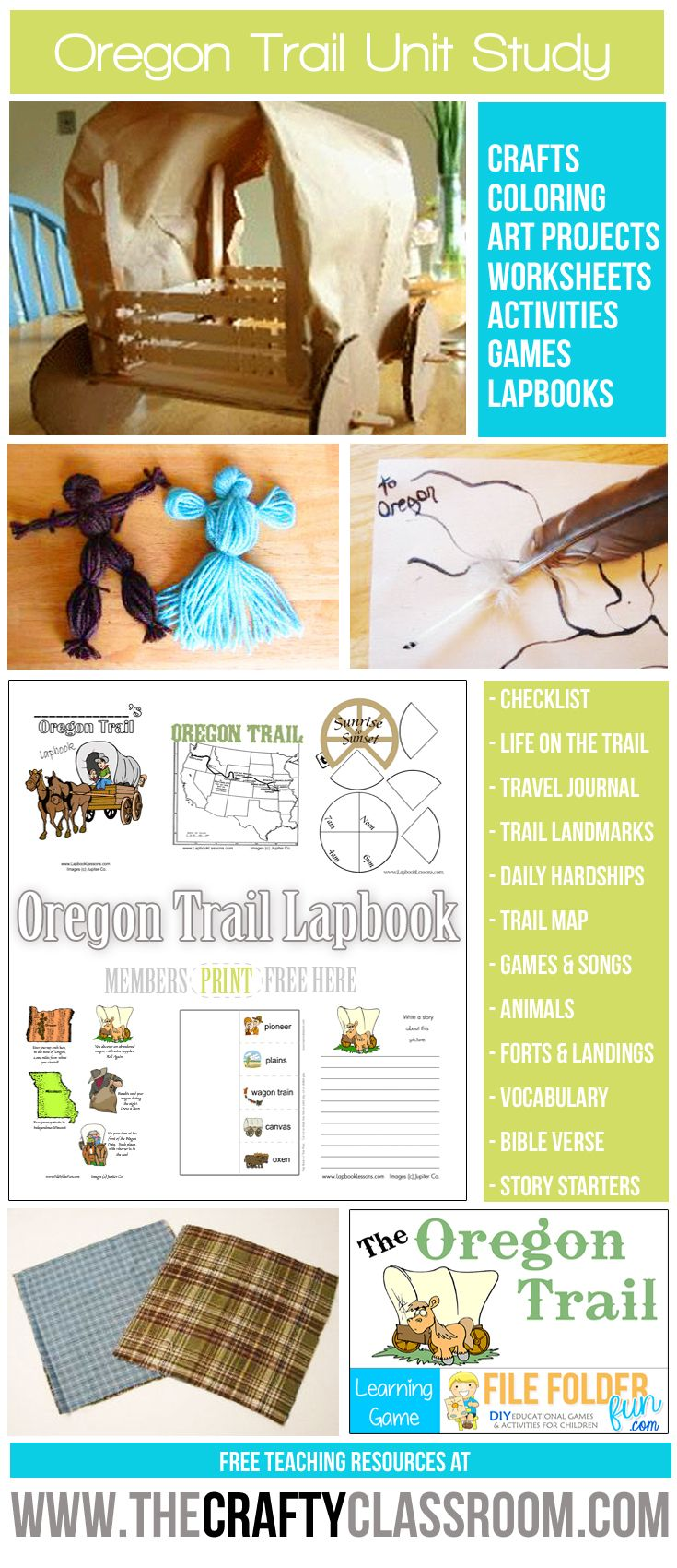 Free Oregon Trail Unit Study Resources Find Crafts, Activities, Games,  Lapbooking Elements