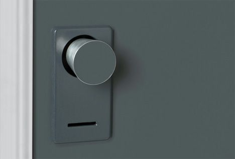 Lock the door, and the doorknob on the other side disappears. The