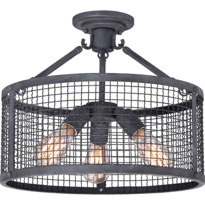 You'll love the Caddo 3 Light Semi Flush Mount at Wayfair Supply -  rustic, industrial, farmhouse design.