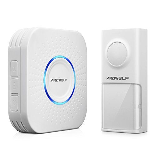 Ardwolf Wireless Doorbell System - 500 feet range with 58 Melodies with LED Notification (1 Doorbell + 1 Receiver):   <b>ARDWOLF WIRELESS DOORBELL</b><br><br> Our goal is to make your life easy. With wireless range up to 500ft (open space), you can be sure that you will never miss a visitor coming to your doorsteps. Our product features 58 chimes to choose from, four adjustable levels, LED light notification, easy wire free installation, and the doorbell is rated IPX44 waterproof.<br> ...