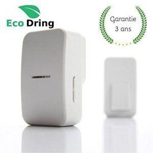Sonnette sans fil sans pile EcoDring ECO + garantie 3 ans FR ✮ portée 80 mètres, résistant à l'eau IPX7 + stickers pour nom +…