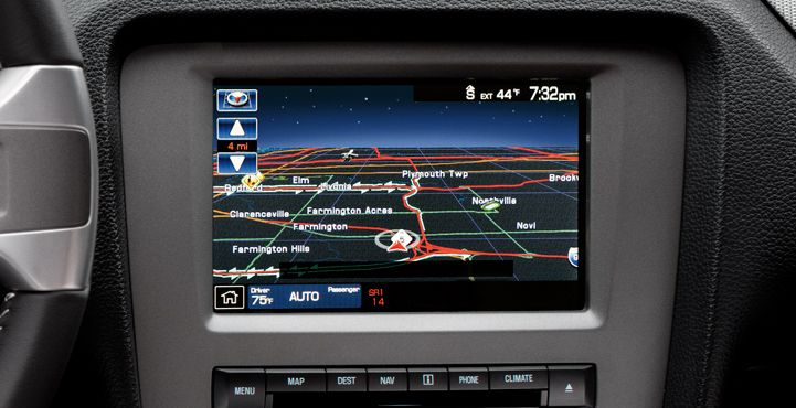 SYNC - The color nav screen displays 3-D maps and landmark icons.