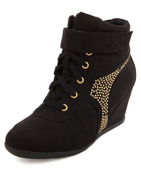 Rhinestone Studded Wedge Sneaker: Charlotte Russe