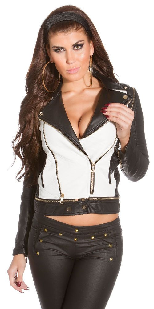 WOMEN S LEATHER JACKET  GIACCA DONNA SIMILPELLE CON LE MANICHE STACCABILI