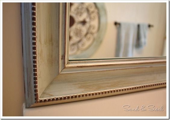 DIY Painted Mirror Frame: Using Paint & Glaze to Enhance Details by Sand & Sisal