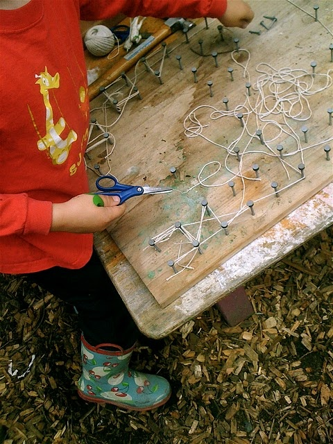 a child-created geoboard of sorts?