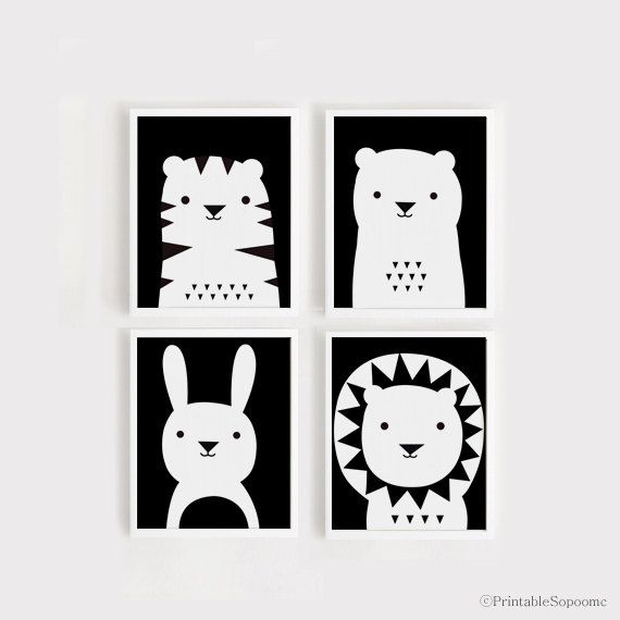 art print download Nursery Art Set of 4 Animal Poster Tiger Bear Bunny Lion Baby…