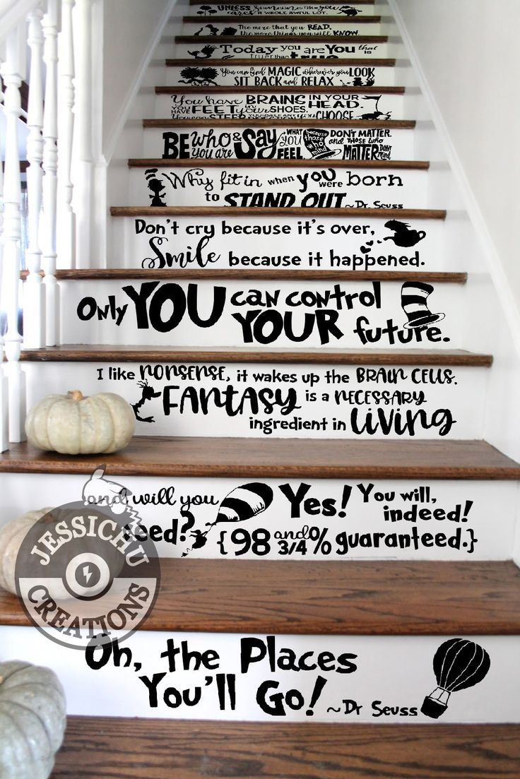 Dr. Seuss Quotes Stairs Vinyl Decal – Home Decor – Marie Sanchirico