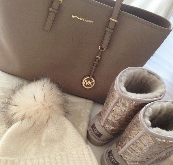 Taupe Michael Kors jet set travel medium tote with uggs and winter beanie outfit
