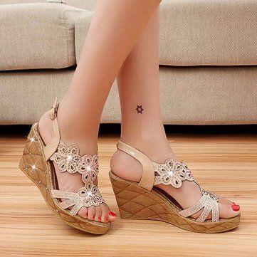 Mulheres verão sandálias confortáveis outdoor renda ocasional para cima salto alto sandálias de cunha sapatos da moda