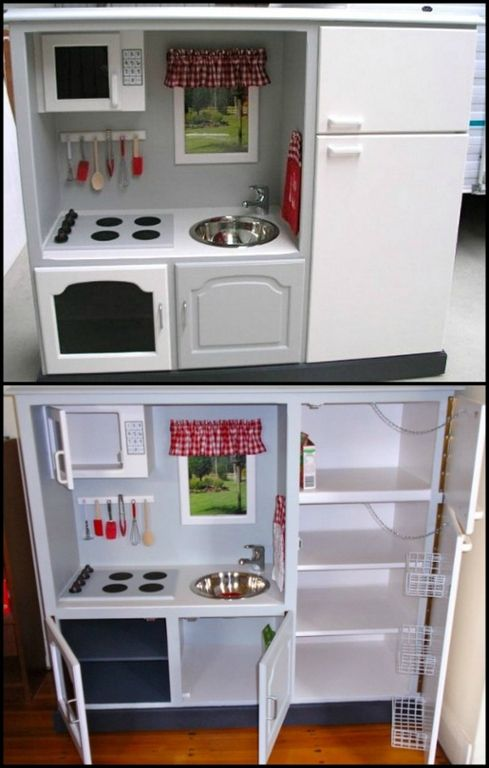 With the demise of tube TV's, why not turn a discarded TV cabinet into a play kitchen!