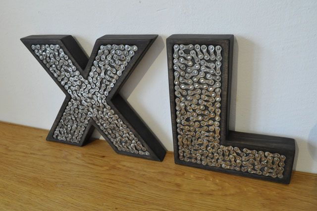 XL letters, made of wood bike chain elements