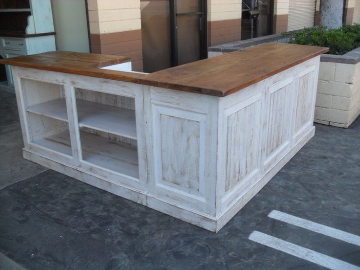 Store counter custom made from relaimed wood USA made, shabby chic style by Oldpine on Etsy https://www.etsy.com/listing/228092035/store-counter-custom-made-from-relaimed                                                                                                                                                                                 More