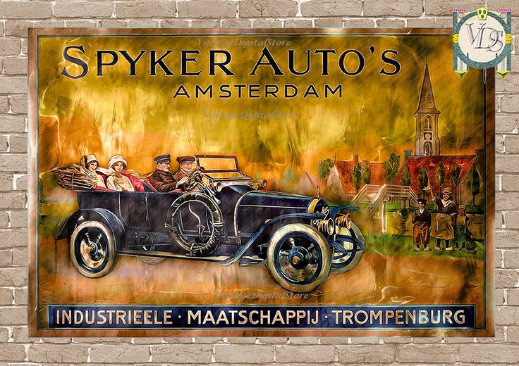 Motor Rally, Old Car, Industrieele* Maatschappij* Trompenburg, Spyker Autos Amsterdam, Digital Files Download  for transfer. by VintageDigitalStore on Etsy