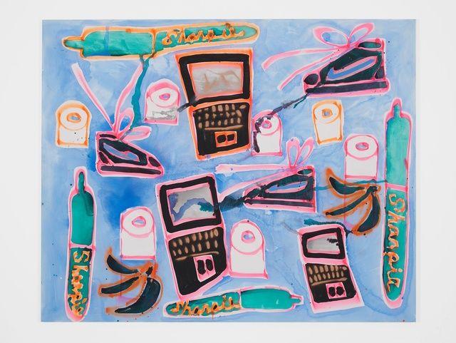 Katherine Bernhardt, 'Sharpies, Dell, Nikes, Toilet Paper,' 2015, Carl Freedman Gallery